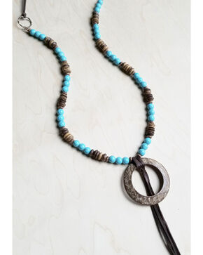 Jewelry Junkie Women's Blue Turquoise and Wood Necklace with Wood Hoop, Turquoise, hi-res