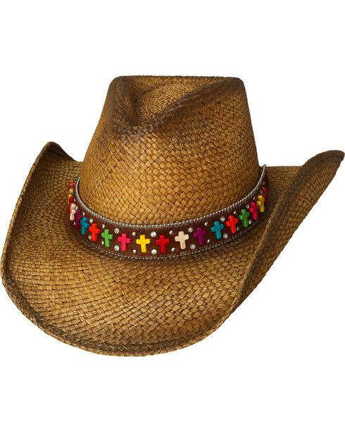 Bullhide Women's Real Life Straw Western Hat, Natural, hi-res