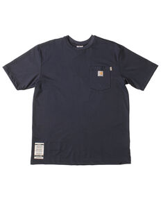 Carhartt Men's Navy Blue Pocket Fire Resistant Short Sleeve Work T-Shirt, Navy, hi-res