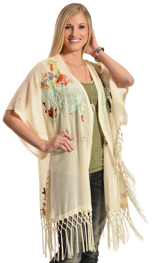 Johnny Was Women's Pearl Argent Fringe Kimono  , Pearl, hi-res