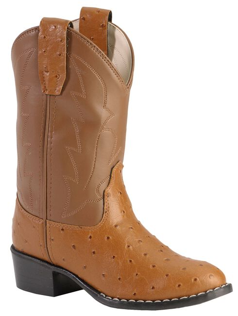 Old West Boys' Ostrich Print Cowboy Boots - Round Toe, Brown, hi-res