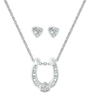 Montana Silversmiths Lucky Trillion Treasure Horseshoe Jewelry Set , Silver, hi-res