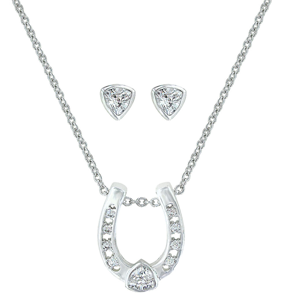 Montana Silversmiths Lucky Trillion Treasure Horseshoe Jewelry Set , Silver, hi-res
