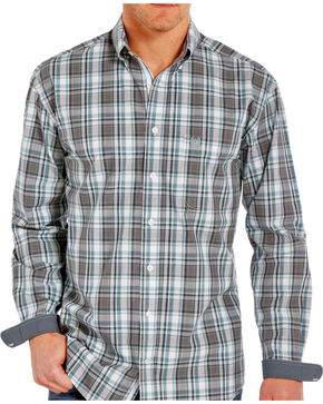 Rough Stock by Panhandle Men's Classic Plaid Button Down Long Sleeve Shirt, Grey, hi-res