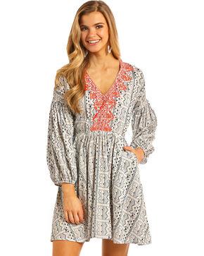 Rock & Roll Cowgirl Women's Navy Aztec Print Dress , Navy, hi-res
