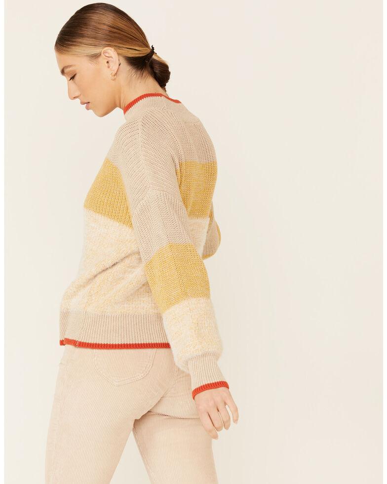 Very J Women's Yellow Striped Mock Neck Sweater , Yellow, hi-res