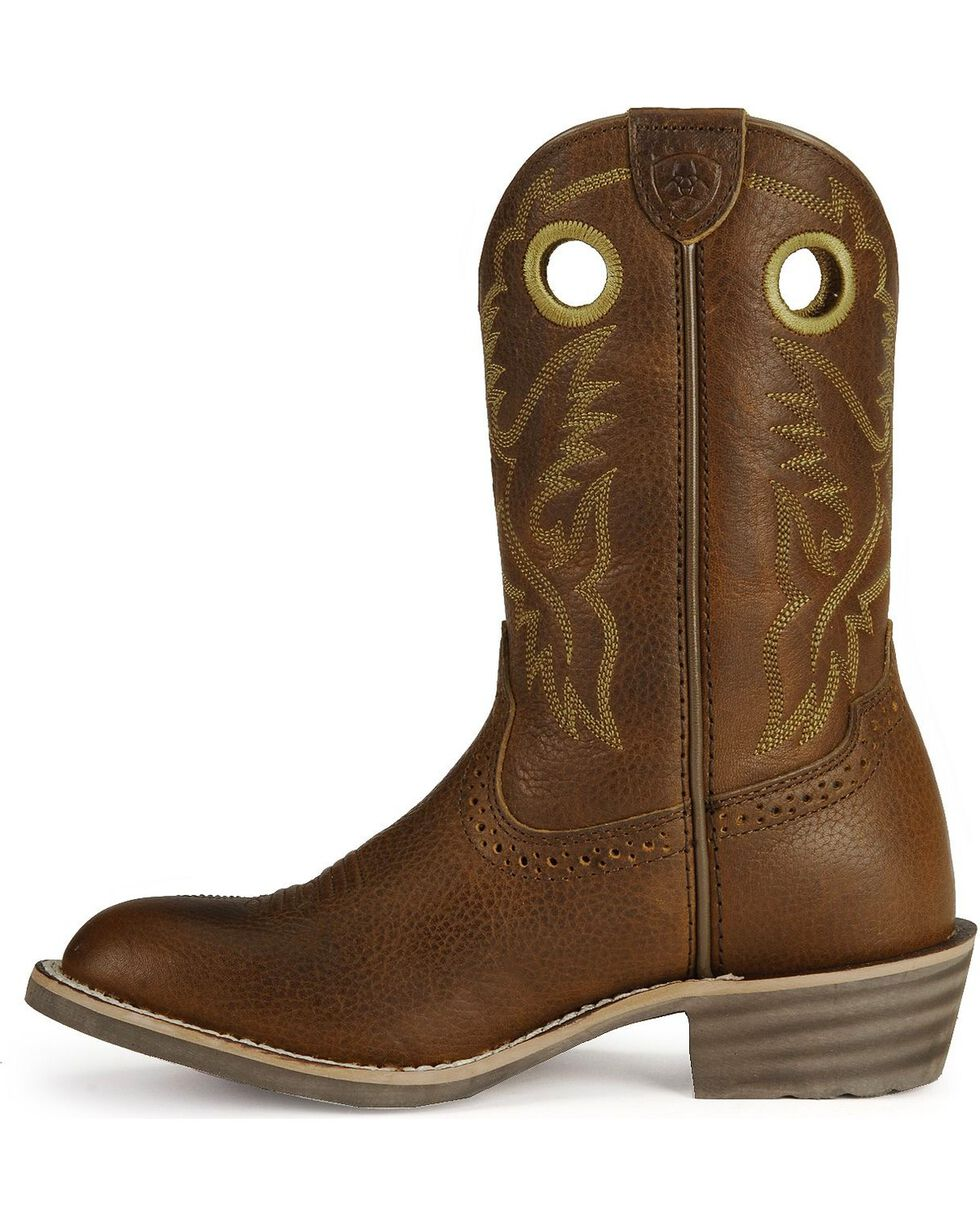 Ariat Boys' Roughstock Cowboy Boots - Round Toe, Brown, hi-res