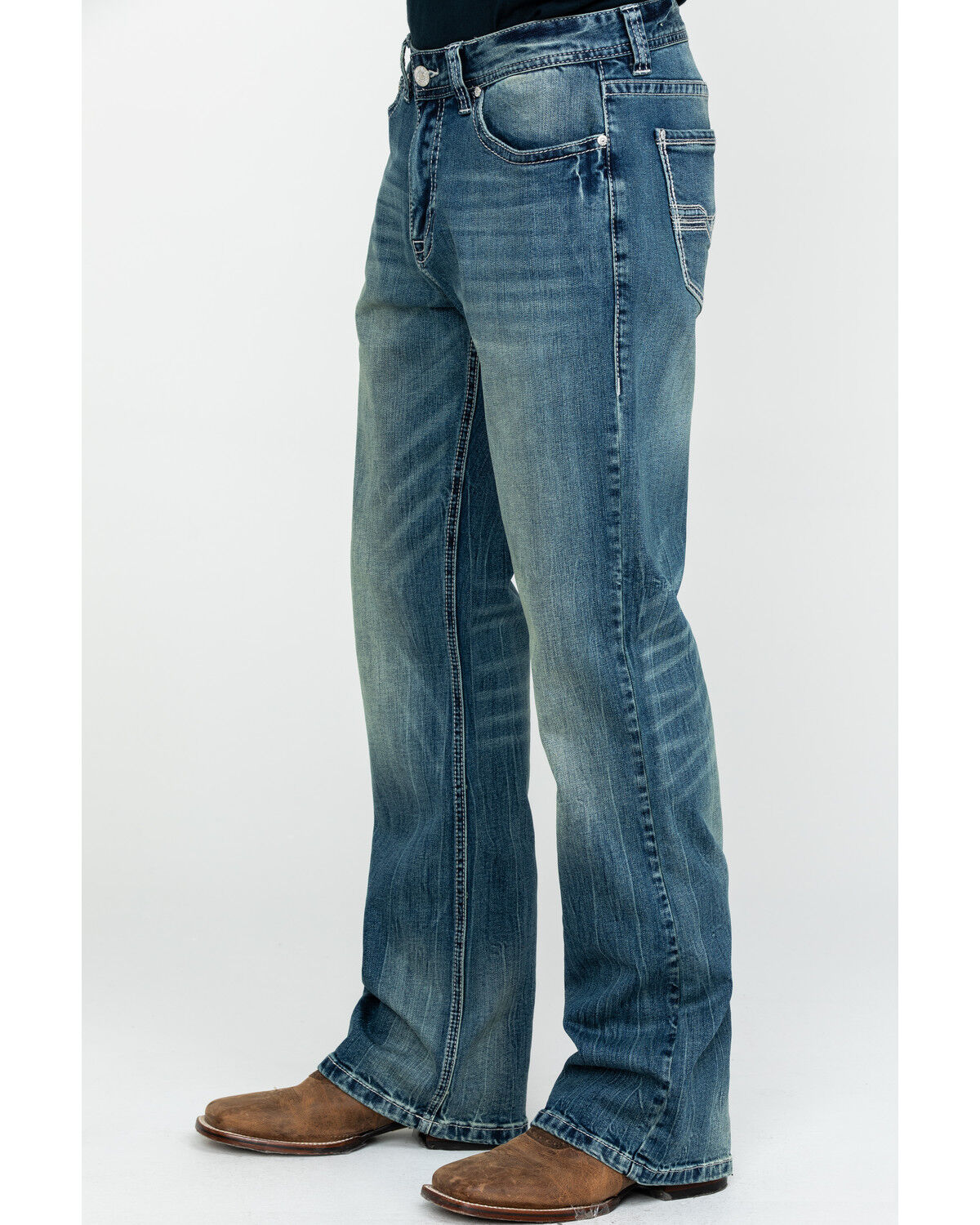 Rock /& Roll Cowboy Mens and Double Barrel A Embroidery Jeans Boot