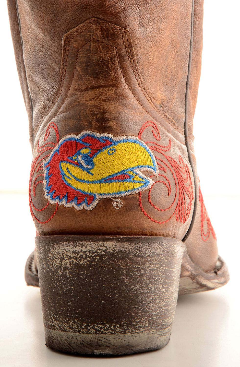 Gameday University of Kansas Cowgirl Boots - Pointed Toe, Brass, hi-res