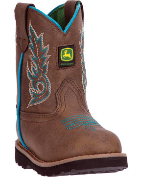 John Deere Toddler Boys' Mid-Calf Turquoise Piping Boots - Round Toe , Brown, hi-res