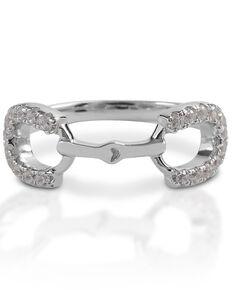 Kelly Herd Women's Clear Stones Horseshoe Bit Ring , Silver, hi-res