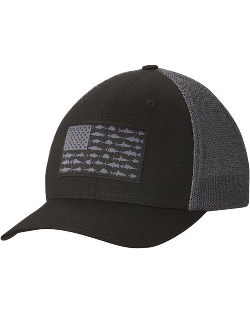 Columbia Men's Black PFG Mesh Fish Flag Cap, Black, hi-res