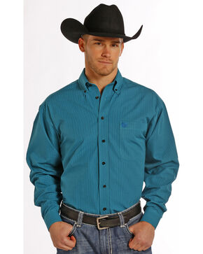 Panhandle Slim Men's Turquoise Check Western Shirt , Turquoise, hi-res
