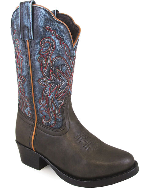 Smoky Mountain Girls' Fusion #1 Western Boots - Round Toe , Brown, hi-res