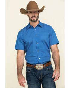 Gibson Men's Combover Geo Print Short Sleeve Western Shirt , Royal Blue, hi-res
