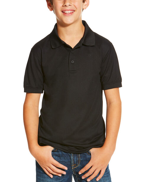 Ariat Boys' Black Tek Polo, Black, hi-res