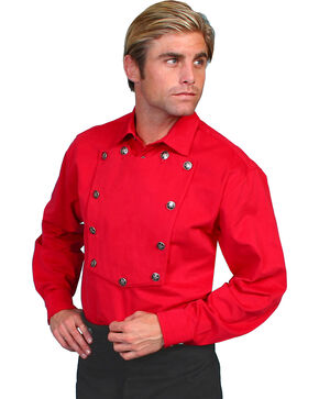 Wahmaker by Scully Brushed Twill Bib Shirt, Red, hi-res