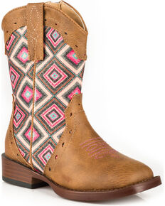 Roper Toddler Girls' Tan Glitter Geo Western Boots - Square Toe , Tan, hi-res
