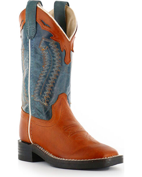 Old West Boys' Old West Cowboy Boots - Square Toe , Brown, hi-res