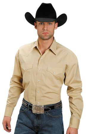 Stetson Solid Snap Oxford Shirt, Yellow, hi-res