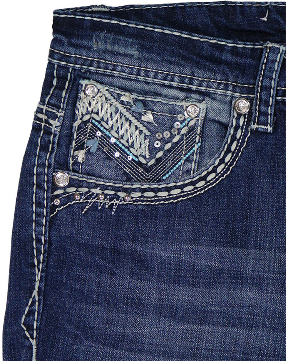 Grace in LA Women's Blue Embellished Pocket Boot Cut Jeans - Plus , Blue, hi-res
