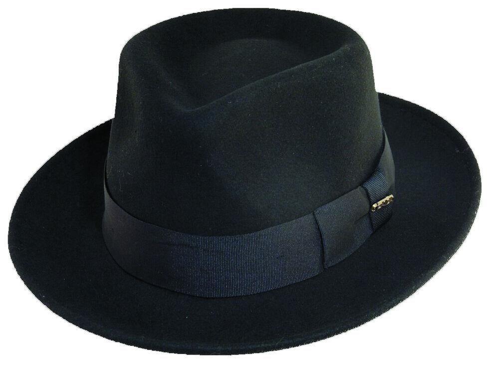 Scala Fashion Black Wool Felt Fedora Hat, Black, hi-res