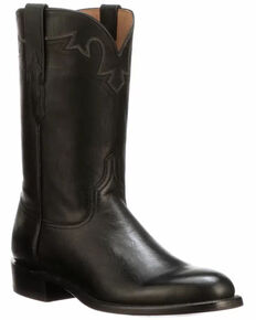 Lucchese Men's Black Sunset Roper Western Boots - Round Toe, Black, hi-res
