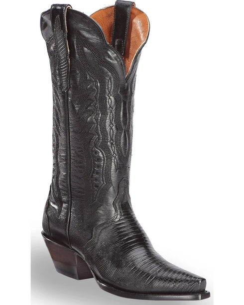 "Dan Post Women's Lizard Triad 13"" Exotic Boots - Snip Toe, Black, hi-res"