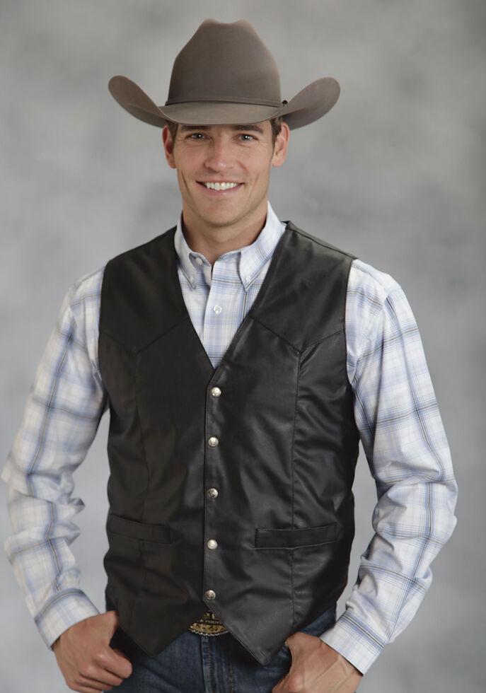 Roper Men's Faux Leather Western Vest, Black, hi-res
