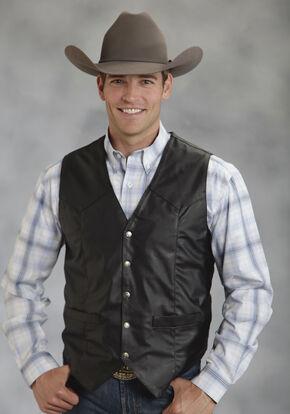 Roper Men's Faux Leather Western Vest - Big & Tall, Black, hi-res
