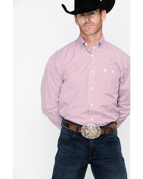 George Strait by Wrangler Men's Mini Check Plaid Long Sleeve Shirt - Big & Tall , Red, hi-res
