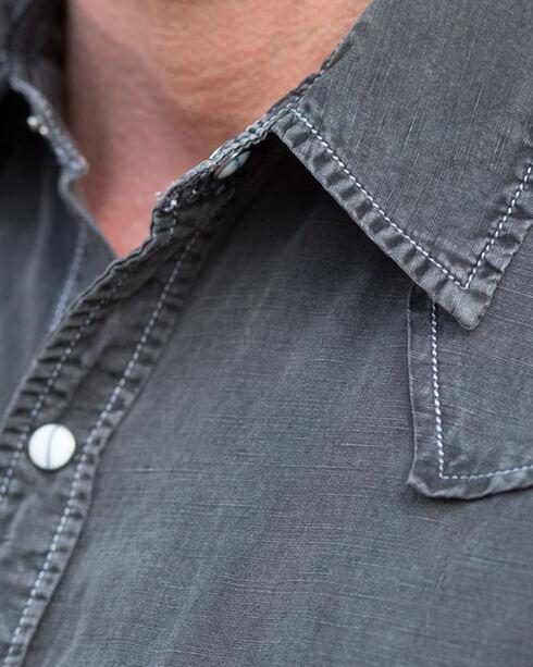 Ryan Michael Men's Black Saw Tooth Silk Linen Shirt - Big and Tall, Black, hi-res