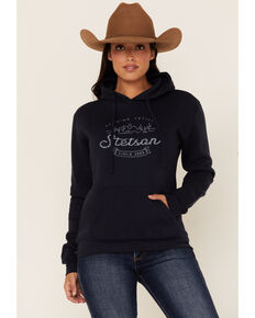 Stetson Women's Blue Mountain Logo Graphic Pullover Hoodie , Blue, hi-res