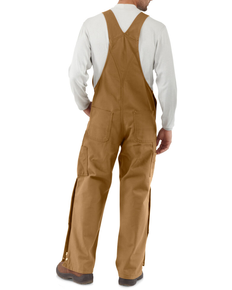 Carhartt Men's Flame-Resistant Duck Bib Overalls, Carhartt Brown, hi-res