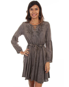 Honey Creek by Scully Women's Acid Wash Bell Sleeve Dress, Brown, hi-res
