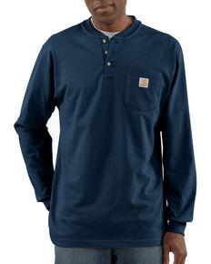 Carhartt Men's Solid Henley Long Sleeve Work Shirt - Big & Tall, Navy, hi-res