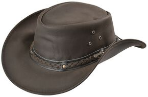 Outback Trading Co. Chocolate Wagga Wagga UPF50 Sun Protection Leather Hat, Chocolate, hi-res