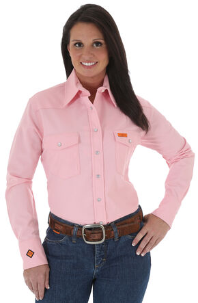 Wrangler Women's Lightweight Flame Resistant Pink Long Sleeve Shirt, Pink, hi-res