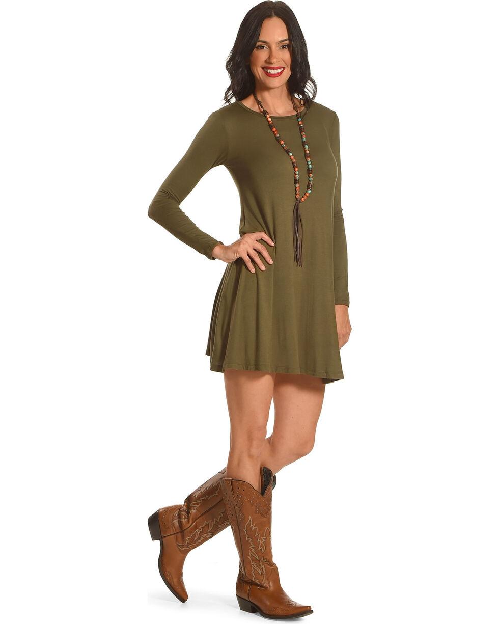 Derek Heart Women's Riva's Long Sleeve Swing Dress, Olive, hi-res