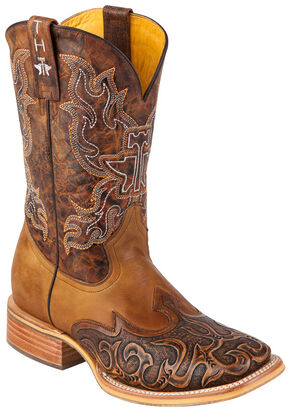 Tin Haul Smokin' Hot Rod Cowboy Boots - Square Toe, Brown, hi-res