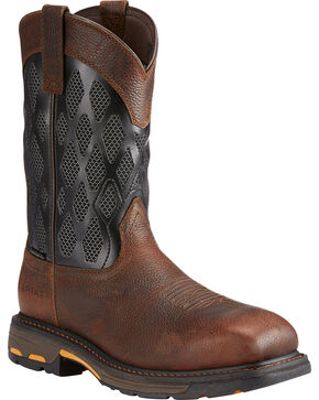 Ariat Men's Workhog VentTEK Matrix Boots - Comp Toe, Brown, hi-res