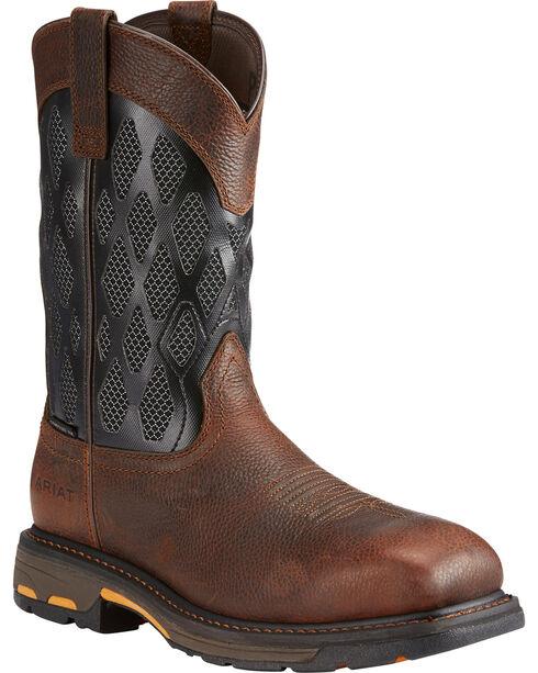 Ariat Men's Workhog VentTEK Matrix Boots - Comp Toe, Brown, hi-res