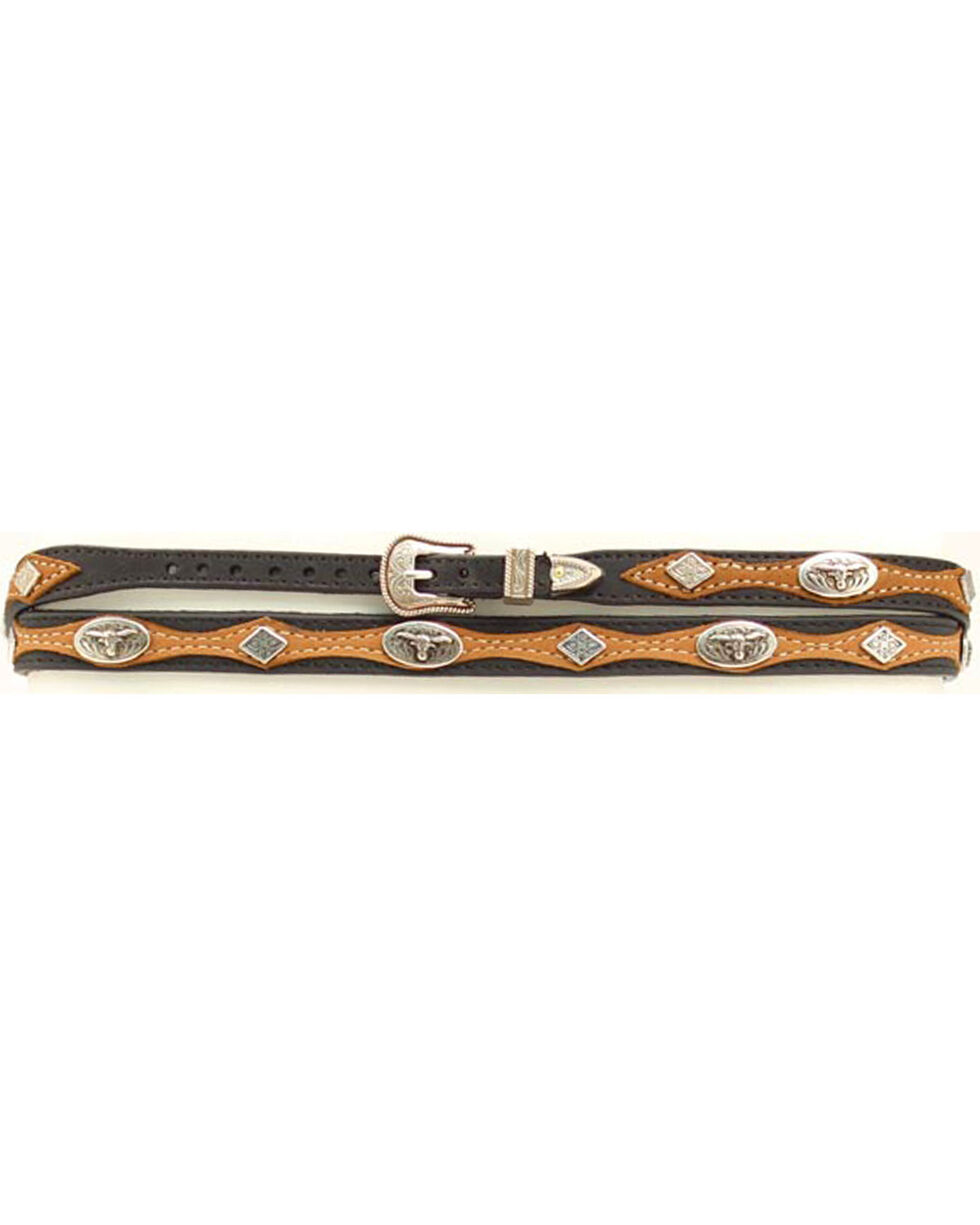 Black and Brown Steer Head Concho Hatband, Multi, hi-res