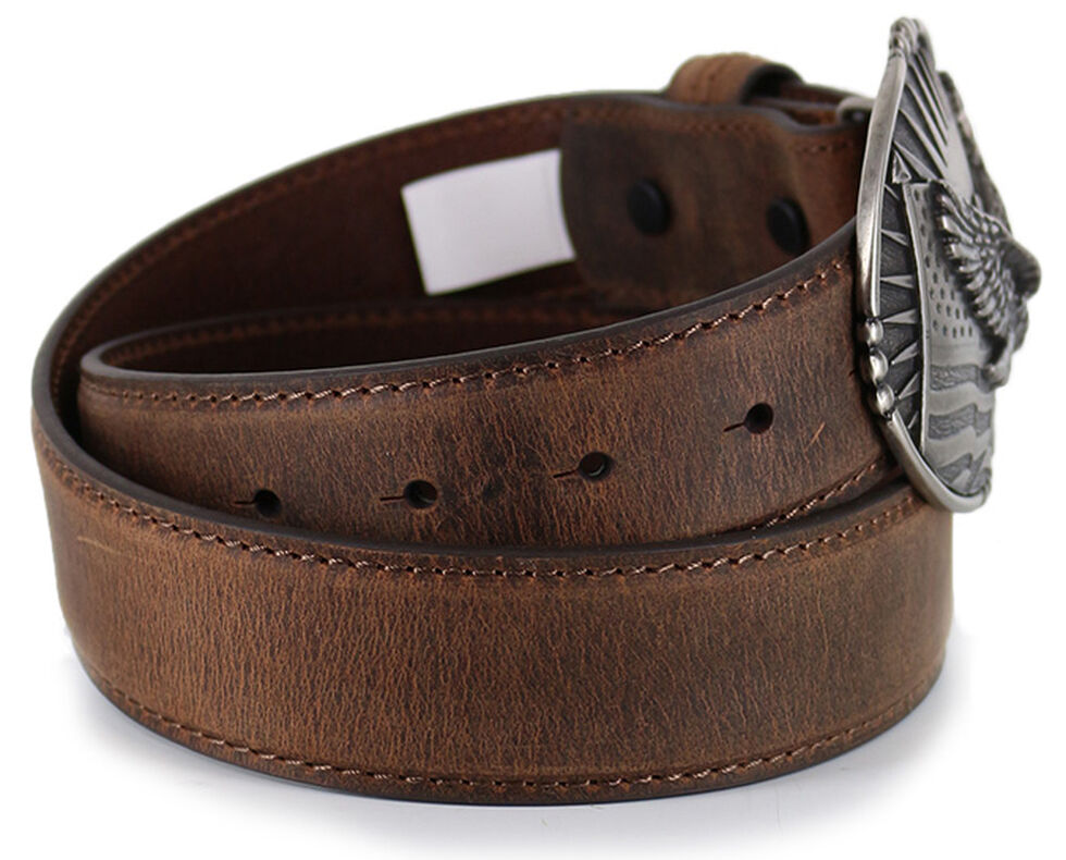 Cody James Men's Patriotic Eagle Leather Belt , Brown, hi-res