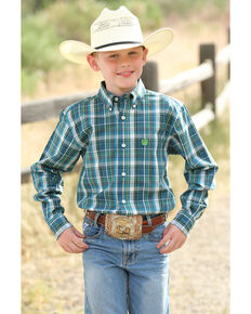 Cinch Boys' Multi Plaid Woven Long Sleeve Western Shirt , Multi, hi-res