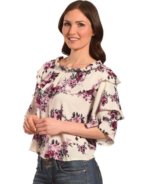 Luna Chix Women's Floral Tiered Sleeve Off-The-Shoulder Top, Ivory, hi-res