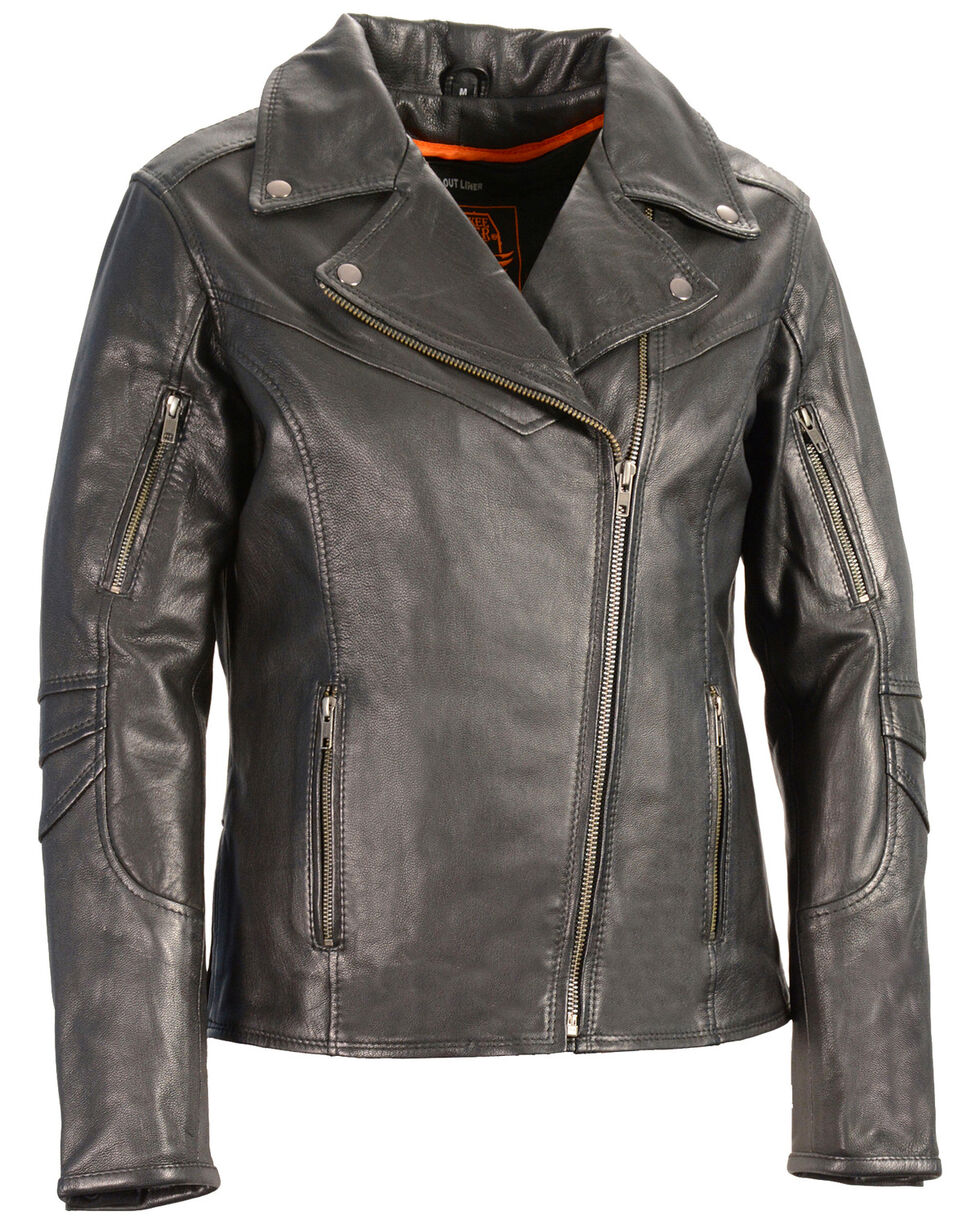 Milwaukee Leather Women's Lightweight Long Length Vented Biker Jacket - 4X, Black, hi-res
