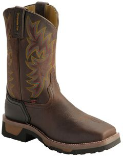 Tony Lama Men's TLX Saddle Pull-On Work Boots - Composition Toe, Bark, hi-res