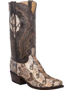 Lucchese Men's Handmade Jackson Canebrake Rattlesnake Western Boots - Snip Toe, Tan, hi-res