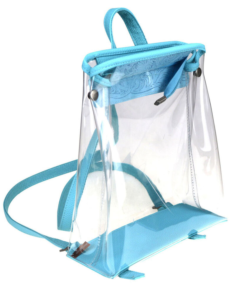 Montana West Women's Savannah Clear Tooled Backpack, Turquoise, hi-res